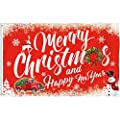Bonsai Tree Christmas Flag 3x5 Ft, Double Sided and Double Stitched Merry Christmas Tree Flags with Brass Grommets, Red Truck Happy New Year Winter Welcome Garden Banners House Outdoor Decorations