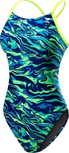 TYR Damen blau/grün, Damen, einteilig, Women's Miramar Cutoutfit Swimsuit, blau/grün, 28