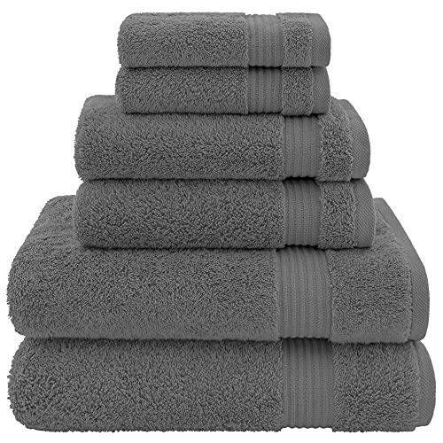 Hotel & Spa Quality, Absorbent & Soft Decorative Kitchen & Bathroom Sets, Turkish Cotton 6 Piece Towel Set, Includes 2 Bath Towels, 2 Hand Towels, 2 Washcloths - Charcoal Grey