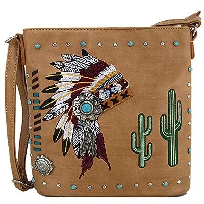 Native Tribal American Chieftain Headdress Feather Purse Cross Body Handbags Women Single Shoulder Bag