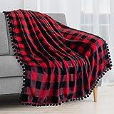 PAVILIA Pom Pom Blanket Throw, Buffalo Plaid Red Black Check   Soft Fleece Pompom Fringe Blanket for Couch Bed Sofa   Decorative Cozy Plush Warm Flannel Velvet Tassel Throw Blanket, 50x60