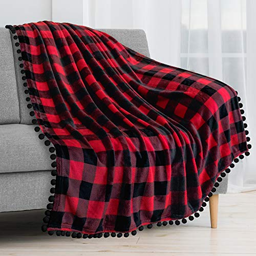 PAVILIA Pom Pom Blanket Throw, Buffalo Plaid Red Black Check | Soft Fleece Pompom Fringe Blanket for Couch Bed Sofa | Decorative Cozy Plush Warm Flannel Velvet Tassel Throw Blanket, 50x60