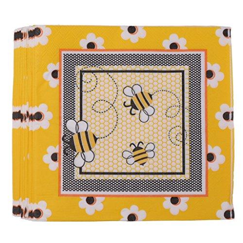 SM SunniMix 20pcs Verschiedene Muster Papier Servietten Einweg Servietten Motivservietten für Party Hochzeit und Geburtstag - Biene, 33 x 33cm