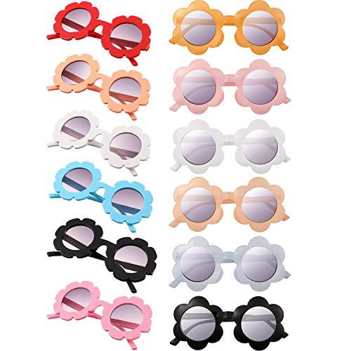 12 Piezas Gafas de Sol de Niños Gafas de Sol Redondas de Flores Gafas de Sol Lindas Coloridas para Niños Niñas Gafas de Fiesta