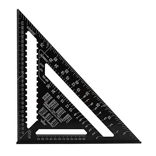 Righello Triangolo Metrico Squadra di Alluminio, H HOMEWINS Triangle Goniometro Alta Precisione Misurazione Strumenti con Finitura Ossido Nero per Falegname Carpentiere - 30CM