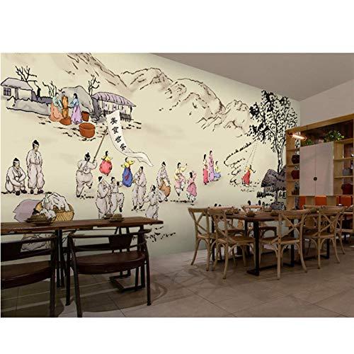 Wuyii fotobehang 3D Koreaans keukenbehang vrijetijdsbar restaurant thema hotel snack winkel achtergrond dranken levensmiddelen behang fotobehang 250 x 175 cm.