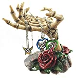 Ebros Gift Gothic Valentine Rose Skeletal Hands Skeleton Grasp of The Dead Jewelry Tree Holder Figurine Holds Many Rings Necklaces and Other Accessories Skeletons Skulls Boudoir Decor Halloween Statue