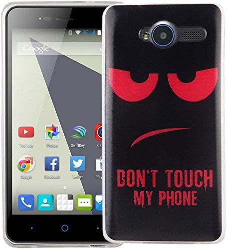König Design Handy-Hülle kompatibel mit ZTE Blade L3 Silikon Case Hülle Sturzsichere Back-Cover Handyhülle - Don't Touch My Phone Rot Schwarz