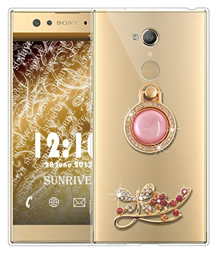 Sunrive Für Sony Xperia XA2 Ultra Hülle Silikon, Glitzer Diamant Strass Transparent Handyhülle Schutzhülle 3D Etui handycase Hülle (Schmetterling) MEHRWEG
