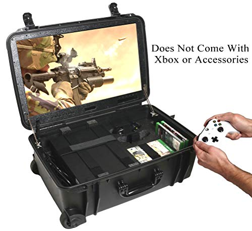 "Case Club Waterproof Xbox One X/S Portable Gaming Station with Built-in 24"" 1080p Monitor, Storage for Controllers, Games, and Included Speakers (Xbox & Accessories Not Included)"