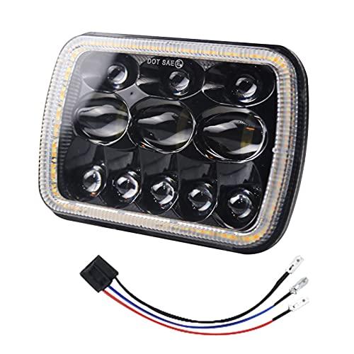 Funien Faro LED,1 Uds., Faro LED para coche, 7 pulgadas, 500 W, faro cuadrado, reemplazo de enchufe H4 súper brillante para Jeep Wrangler Land Rover Defender Hummer