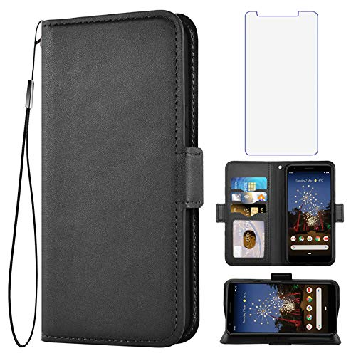 Asuwish Compatible with Google Pixel 3a Wallet Case with Tempered Glass Screen Protector and Leather Flip Cover Card Holder Stand Cell Accessories Phone Cases for Pixel3a Pixle a3 Women Men Black