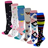 Dr. Shams 6 Pairs Pack Graduated Colorful Travel Athletic Cotton Compression Knee High Socks (6 Pairs Assorted, L/XL)