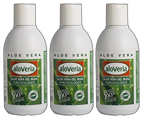 PURES ALOE GEL 99,6 % - ALOVERIA® Aloe Vera Pur, kaltgepresst aus Gran Canaria x 3