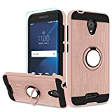 Atump Alcatel IdealXcite/Verso/CameoX/Xcite Version 5044r Case with HD Phone Screen Protector,360 Degree Rotating Ring & Bracket Resistant Back Cover for Alcatel 5044R Rose Gold