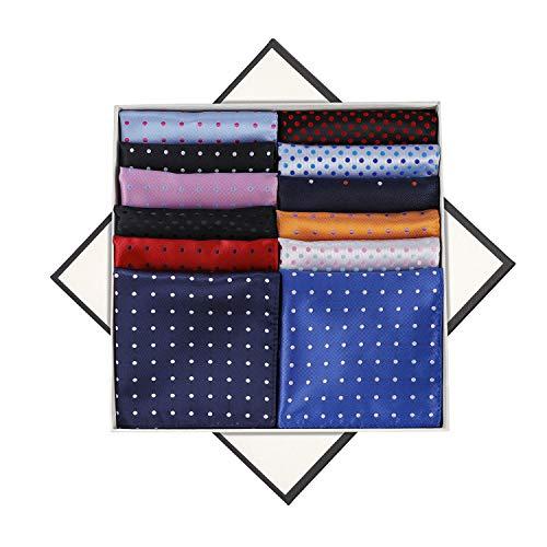MengH-SHOP Pañuelos de Bolsillo de Puntos Cuadrado La Moda Pañuelo de Bolsillo de Traje de Hombres para Fiesta Boda 12 Piezas