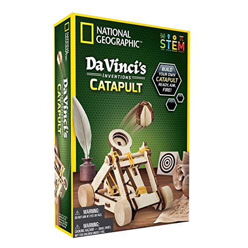 NATIONAL GEOGRAPHIC Construction Model Kit - Build Your Own Wooden Model of The Original Catapult, Learn About Da Vinci's Improved Designs, Craft Kits are a for Girls and Boys