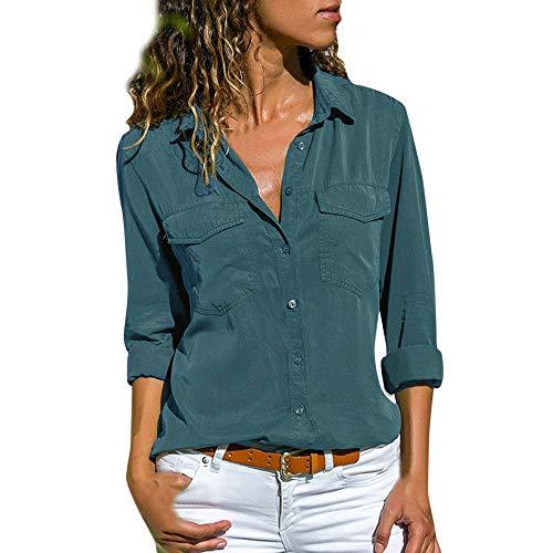 Camisa Mujer Blanca Manga Larga Talla Grande Negra Sexy Cuadros Corta Vestir Botones Gasa Verano Vaquera Verde Azule Blusas para Mujer Elegantes Fiesta Baratas Camisetas POLP (L5, Azul)