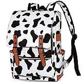 Cow Print Bookbag for Teen Girls Boys, College School Student Laptop Backpack for Womens