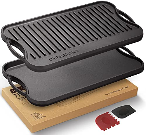 OVERMONT Grillplatte Gusseisen Gusseisenplatte für BBQ Ofen Herd Grill Holzkohlegrill Gasgrill