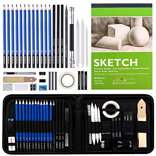 Sketching and Drawing Pencils Set, 37-Piece Professional Sketch Pencils Set in Zipper Carry Case, Drawing Kit Art Supplies with Graphite Charcoal Sticks Tool Sketch book for Adults Kids by Shuttle Art