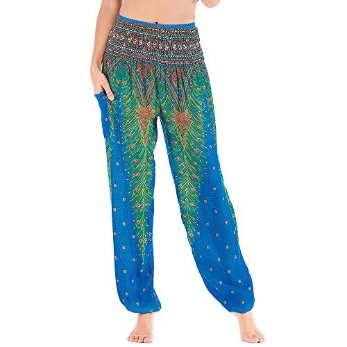 Nuofengkudu Mujer Hippie Thai Harem Pantalones con Bolsillo Boho Estampados Sueltos Pantalón Cintura Alta Indios Yoga Pants Pijama Verano Playa(X-Hu Azul Pavo,Talla única)