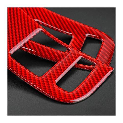 SHOUNAO 2pcs Ventana Control Interruptor De Cubierta Coche Fibra De Carbono DIY Decoración Decoración Roja Nuevo