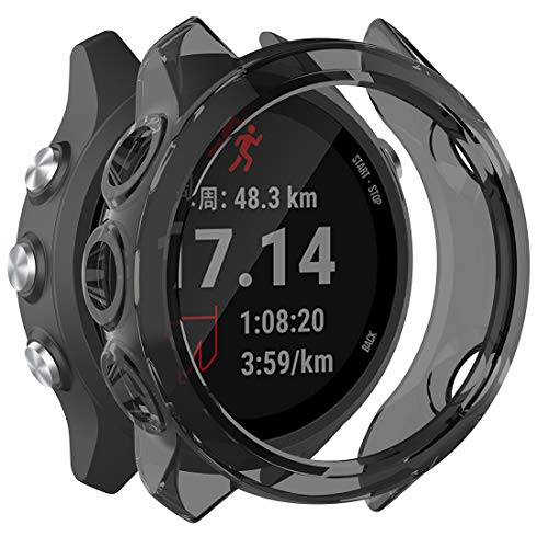 MOTONG for Garmin Forerunner 245 Transparent TPU Protective Case - TPU Protective Case Cover Shell for Garmin Forerunner 245/ 245M(TPU Black)