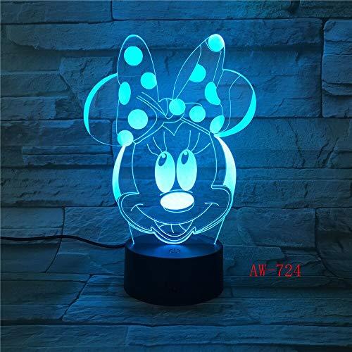 Jiushixw 3D acryl nachtlampje met afstandsbediening van kleur veranderende lamp Cartoon Multi-Double Desktop Kerstmis Kids Gift Lounge batterij tafellamp