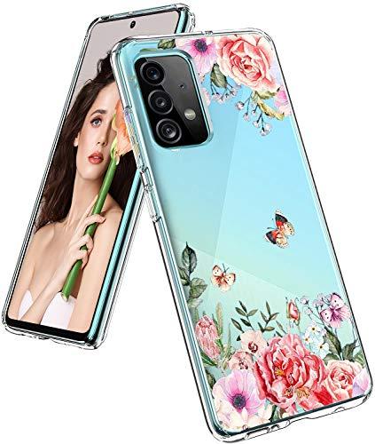 ruiyoupin Funda para Samsung Galaxy A52 5G de silicona suave TPU A52 5G Diente de León Funda Ultra Fina Thin Bumper Cases Transparente Flor Smartphone Case para Samsung A52 5G Smartphone