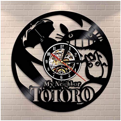 Bawangbieji Katze mit Regenschirm Wanduhr aus Vinyl Schallplattenuhr Upcycling Schallplatte Uhr Retro Uhren Vintage Leise Hängelampe Quarzuhr Wanduhren Handmade-30cm(12inch)
