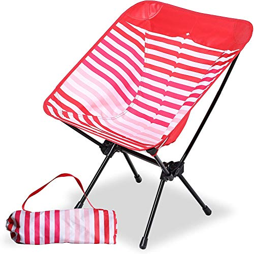 Camping World Ultralight Portable Camping Folding Chair Lightweight with Aluminum Frame for Hiking, Backpacking, Outdoor, Camping, Red Stripe