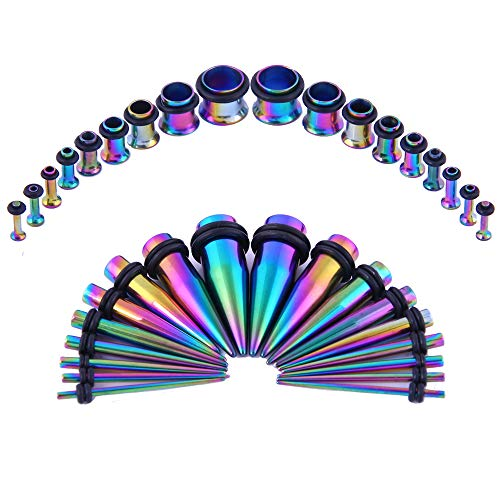 Bodystars Ear Gauges Stretching Kit - 36Pcs Stainless Steel Tapers and Plugs Set, Prefect for Heavy Metal,Punk Rock,Street or Daily Wear (Rainbow)