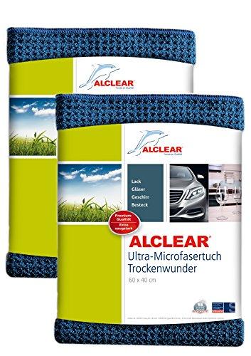 ALCLEAR Auto Microfasertuch Trockenwunder für Autopflege, 2er Set, Autolack, Motorrad, Küche u. Haushalt – Microfaser Geschirrtuch - weiches Trockentuch - 60x40 cm blau