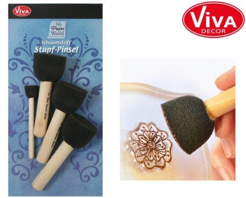 Viva Decor Schaumstoff Stupf-Pinsel 4-er Set, Synthetic Material, Mehrfarbig, 25.4 x 10.8 x 3.8 cm