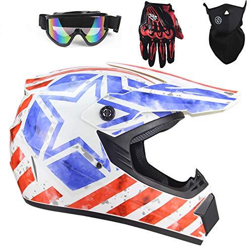 Casco integral para motocicleta, Rockstar Enduro Crash Casco integral MTB con almohadillas...