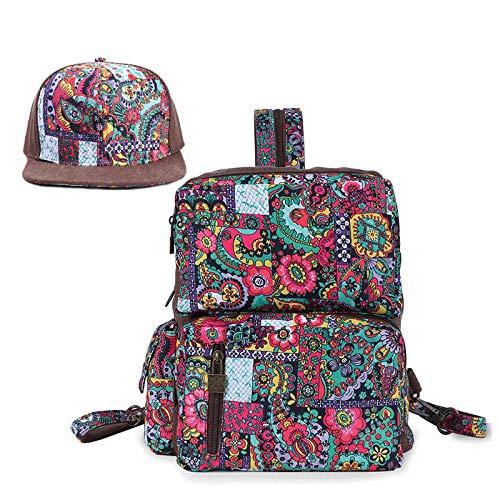 QOTS Canvas-Tasche, Rucksack, weibliche Brusttasche, lässige, vielseitige literarische Doppelnutzen-Canvas-Tasche - Printed_backpack + hat