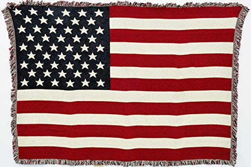 Pure Country Weavers American Flag Throw Blanket Woven from Cotton - Made in The USA (69x48)