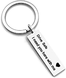 LareinaXXX Drive Safe I need you here with me keychain Trucker Husband gift for husband dad gift valentines day stocking stuffer