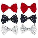 Madison Tyler Americana Collection 6 Pcs Red, Blue with White Star and Silver Sequin Ribbon bow Hair Clip Set Independence Day Fashion Accessory for Women