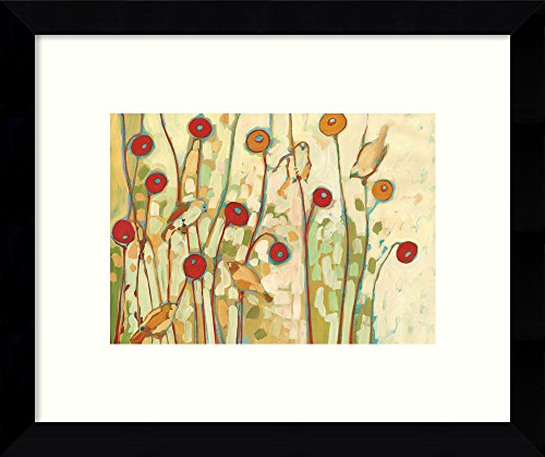 Framed Wall Art Print Five Little Birds Playing Amongst The Poppies by Jennifer Lommers 10.88 x 8.88 in.