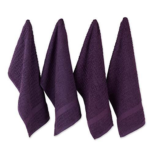 DII - Asciugamani in spugna di cotone, 38 x 66 cm, ultra assorbenti, resistenti, per asciugare e pulire la cucina, colore: melanzana