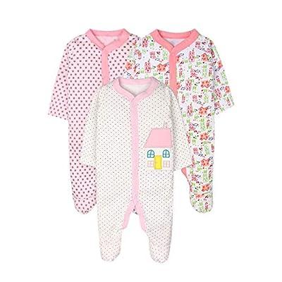 ZEVONDA Body para Bebés Niños y Niñas de 100% Algodón - Manga Corta/Manga Larga/Mameluco Pijamas para Recién Nacido 0-18 Meses, Pack de 3 o 5