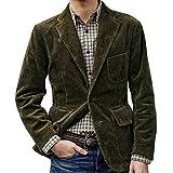 DAY8 Blazer Velluto a Coste Uomo Elegante Invernale Grande Giacche Uomo Invernali Eleganti Slim Fit Taglie Forti Casual Cerimonia Affari Festa Giacca Risvolto Cappotto (Verde, M)