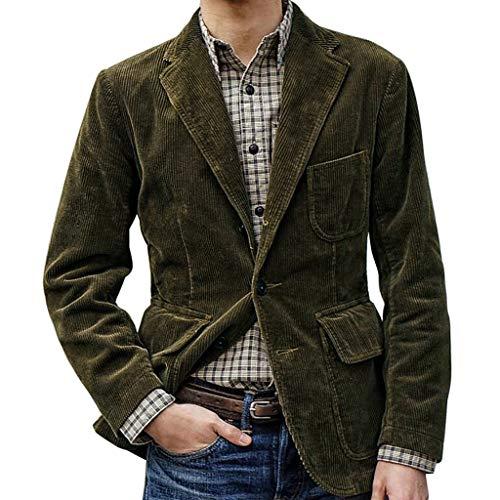 Heetey Männer New England Normallack-Qualitäts-beiläufiger Cord-Einreiher-Anzug Britischer einfarbiger Cordanzug Lässiger Einreiher Mantel Wintermantel Elegant Klassischer Kurzmantel