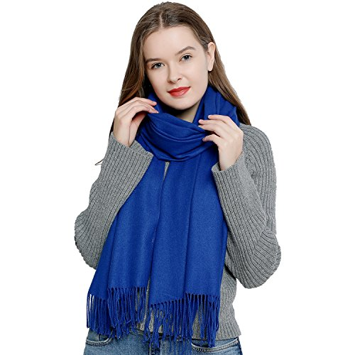 DonDon Damen Schal einfarbig weich 185 x 65 cm blau