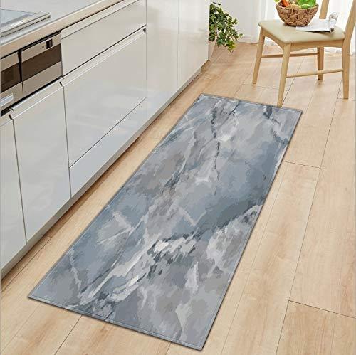 HLXX Alfombra Patrón de mármol Alfombra de Cocina Antideslizante Felpudo de baño Pasillo Alfombra de Piso Alfombra Absorbente de cabecera Alfombra de pie Suave A3 60x180cm
