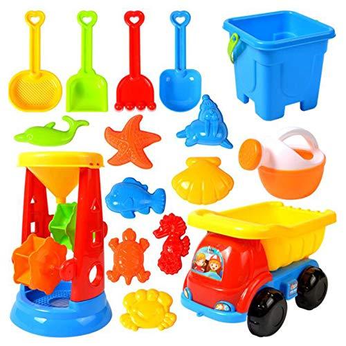 16 Stück Strandspielzeug Sandspielzeug Set, Sandkasten Spielzeug Kinder Beach-Spielset inklusive Eimer, Gießkanne, Schaufel Rechen Werkzeug, Tier Schimmel usw. für Jungen und Mädchen