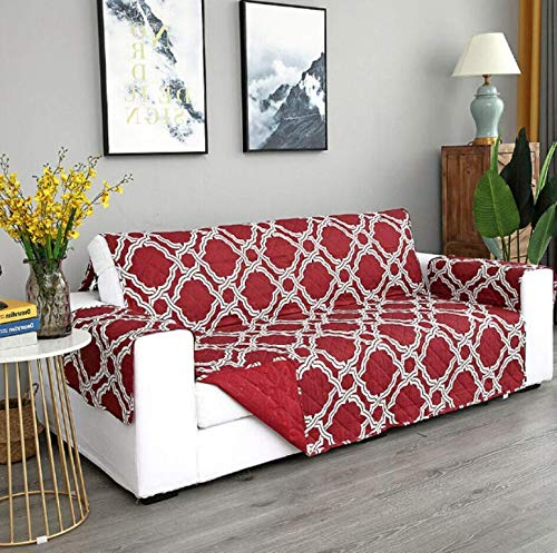 WRE 1 Pcs 3 Seater Sofa Slipcover Geometric Motif - 309DL #TN14D (Printed Red)