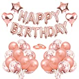 O-Kinee Rose Gold Birthday Party Decorations, Happy Birthday Banner, Rose Gold Balloon Kit for Girl Women Birthday Party Supplies